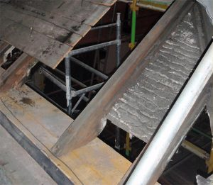 Area 1 - Detail view of timber repairs to roof structure
