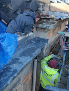 Area 3- Installation of new section of lead rainwater pipe at parapet gutter