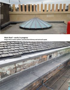 Main roof works in progress
