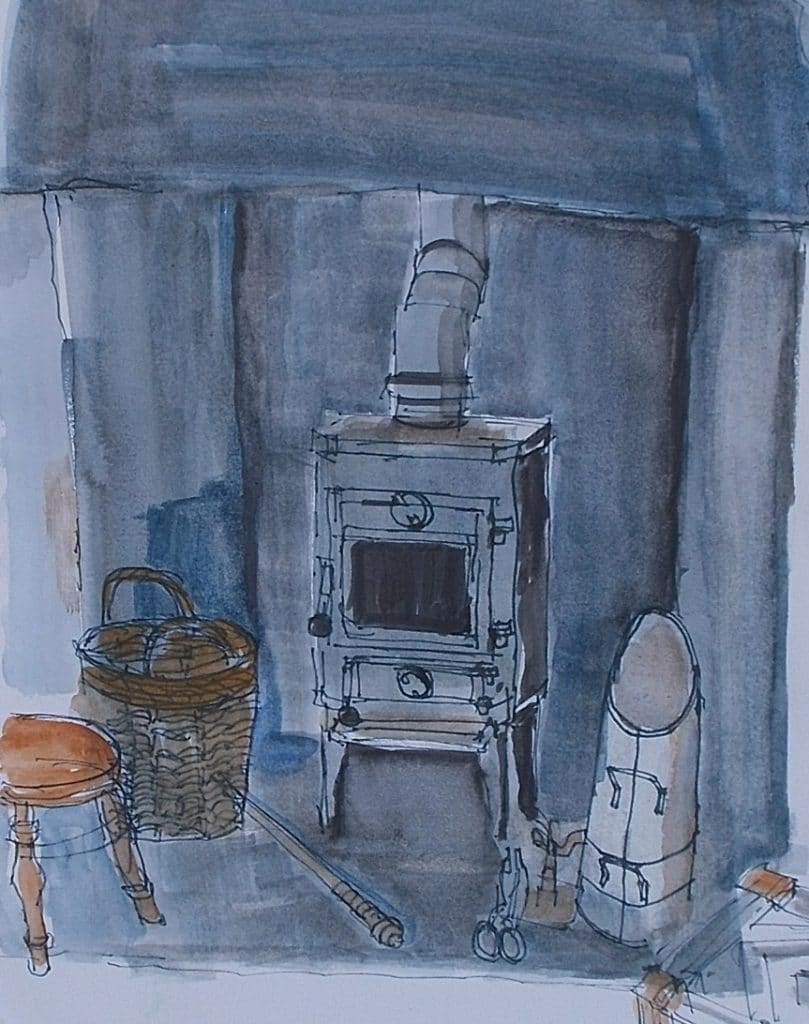 Woodstove-at-Luing-Cottage-mixed-media-22-x-18cm